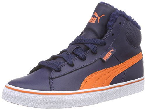 Puma Puma 1948 Mid Vulc Perf Jr, Unisex-Kinder Hohe Sneakers, Blau (peacoat-vermillion orange 02), 32 EU (13 Kinder UK)
