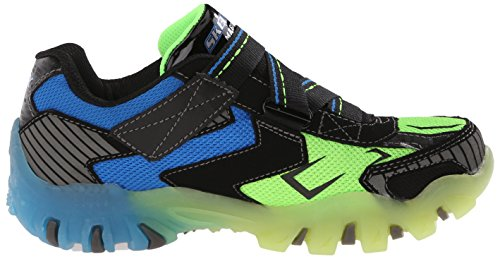 Hot-Lights by Skechers Bolterz Toile Baskets Black-Blue-Lime