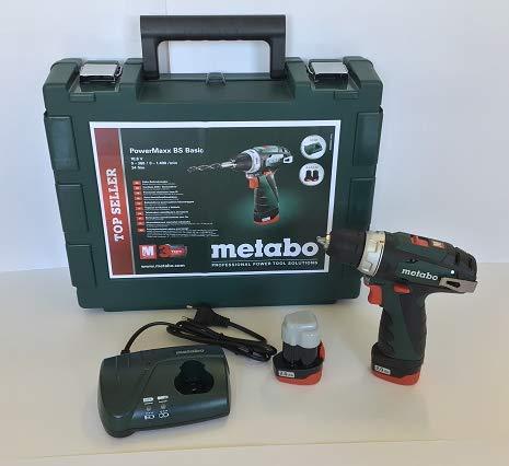 Metabo POWERMAXX BS BASIC 1400 RPM 800 g - Taladro eléctrico 1400 RPM, 1 cm, 1,8 cm, 34 Nm, 17 Nm...
