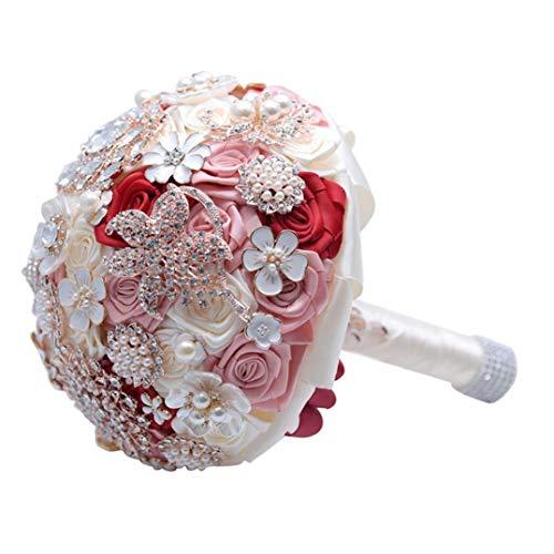 MICHAELA BLAKE Strass Künstliche Seide Hochzeit Bouquet Simulation Bridesmaid Wedding Bouquet Hochzeit Blumen Hand Holding Rotwein