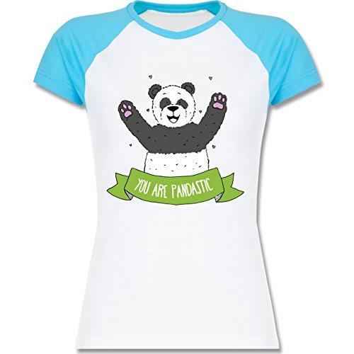 Statement Shirts - süßer Panda You are pandastic - zweifarbiges Baseballshirt / Raglan T-Shirt für Damen Weiß/Türkis