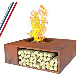 Brasero de jardin en acier corten avec rangement bois - AGtrema COMPŎSĬTUS 100cm (Pré-rouillé)