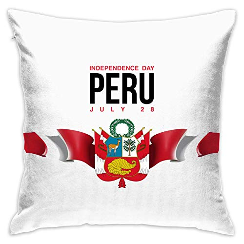 Coat of Arms of Peru Cushion CoveCase Pillow Custom Zippered Square Pillowcase 18x18 (one Side) Pillow Cases online