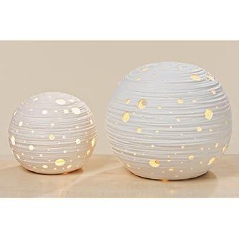 Boltze Deko-Lampe Globus rund aus Porzellan in Weiß - Durchmesser 16cm