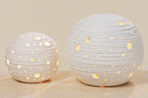 Tischlampe, Tischleuchte Globe in weiß aus Porzellan, 1 Stück, Ø ca. 16...