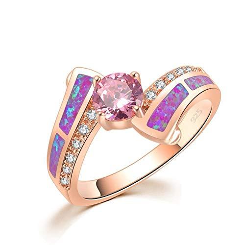 CCWANRZ Engagement/WeddingTimeless Violet Lila Feueropal Ringe Rotgold Farbe Rosa Zirkonia Kristall Runde Stein Klassischen Schmuck Frauen Mädchen, 8