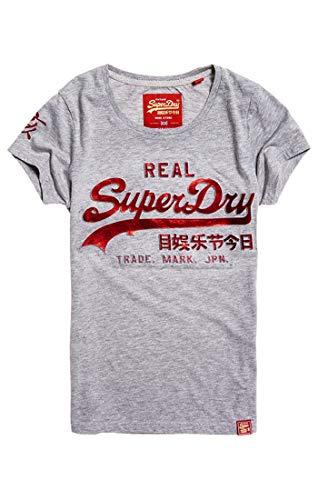 Superdry Damen Pullunder Vintage Logo CNY Emboss Foil E, Grau (Grey Marl 07Q), Medium (Herstellergröße: 12)