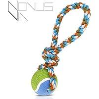 Interaktives Hundespielzeug [hochwertig verarbeitet] [Wurfseil mit Ball & robustem Knoten] für Spiel, Spaß & Training in Premium Qualität von Novus Via