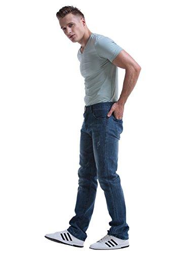 Alice & Elmer Herren Slim Fit Straight Leg Jeans Licht Wäsche
