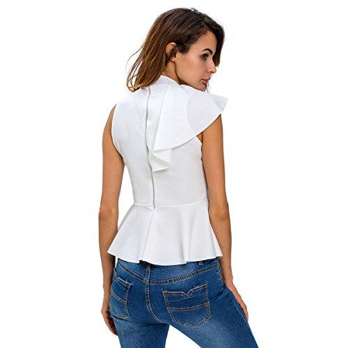 Mela Proibita - Top smanicato donna maglia elegante sera asimmetrico volant peplum aderente sexy Bianco