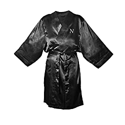 Cathys Concepts Personalized Black Satin Robe, L/XL, Letter N