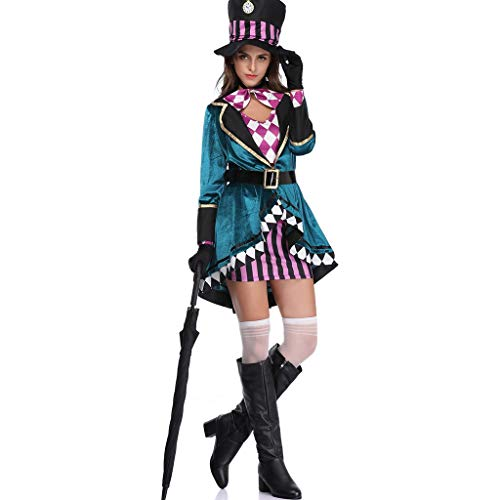 QWEASZER Halloween Mad Hatter Damen Kostüm Tea Party Cosplay Erwachsene Kostüm Sexy Maid Uniform Spiel Cos Prom Bar Tanzen Kleid,Green-M