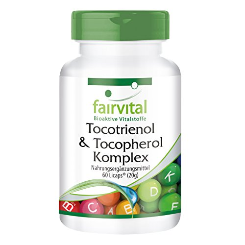 Tocotrienol-Tocopherol Komplex - für 1 Monat - HOCHDOSIERT - 60 LiCaps® - natürliches Vitamin E aus Ölpalmen-Extrakt