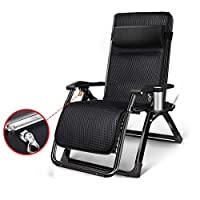 LXLTL Reclining Chairs-Reclining Chair Recliner Chairs Office Folding Bed, Adjustable Garden Outdoor Patio Sun Loungers Can Bear 150Kg,Black