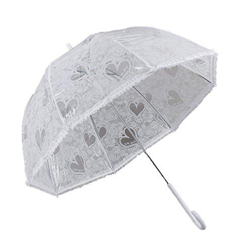 Damen Transparentschirm Kuppel-Förmigen klar Regen Regenschirm Automatik Öffnung Blase Romantische Golfschirm Prinzessin mit weißen Muster für Hochzeitsfeier
