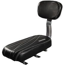 shayson Bambino Seggiolino PU Pelle per bicicletta sella cuscino sedile posteriore, Seggiolino per bicicletta, con schienale, Nero con linea Pattern