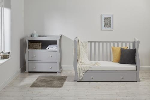 East Coast Alaska Sleigh 2 Piece Nursery Room Set with Under Drawer and Sprung Mattress - Grey East Coast  3