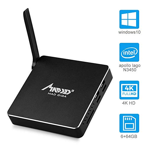 MAD GIGA AP34 Pro Mini PC, lautloser Mini Computer, Lüfterloser Desktop-PC, Intel Apollo Lake N3450 Prozessor DDR3 6GB/64GB, Dual HDMI 4K, Gigabit Ethernet, WiFi (2.4G+5.8 GHz), Bluetooth 4.0