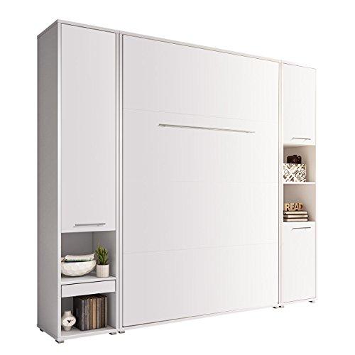 Mirjan24  Schlafzimmer-Set Concept Pro I Vertical, Wandklappbett und 2 Regale, Wandbett mit Lattenrost, Bettschrank, Klappbett, Funktionsbett (Weiß, CP-01 (140x200))