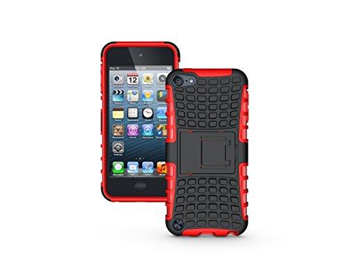 Apple iPod Touch 5 / Touch 6 Kasten, CaseFirst Reifenstreifen Hybrid Combo Shockproof Rüstung Robuste Dual Layer Case Cover mit Kickstand für Apple iPod Touch 5 / Touch 6 (Rot)