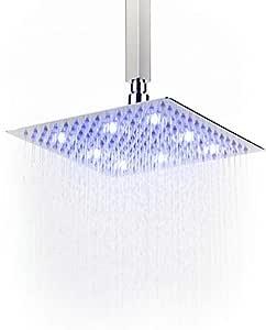 Soffione doccia a LED effetto pioggia ad alta pressione, ultra sottile, in acciaio inox 304; soffione doccia quadrato, nichelato, Acciaio inossidabile, 25cm/10inch