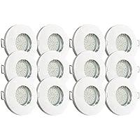 Trango® 12er Set IP44 Einbaustrahler WEISS TG6729IP-126B Bad / Dusche / Sauna inkl. 12x GU10 3,0 Watt LED Leuchtmittel 3000K w-weiß & Fassung Einbauleuchten Edelstahl lackiert rostfrei