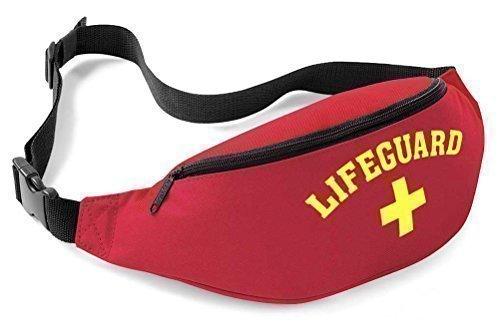 Rettungsschwimmer, Gürtel / Bauchtasche Gr. Eine Größe, rot/ gelb (Lifeguard Kostüm)