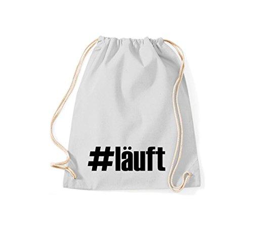 shirtstown BORSA PALESTRA # läuft hashtag - rosso, 37 cm x 46 cm grigio chiaro