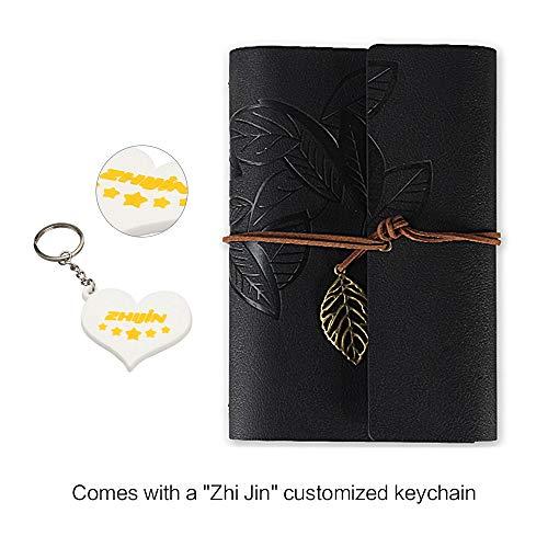 Zhi Jin - Taccuino ricaricabile ad anelli con copertina in pelle, formato A5, stile vintage Coffee