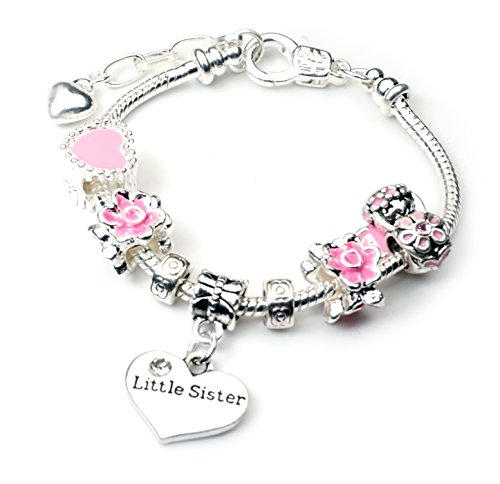 Little Sister Pandora Syle Charm Bracelet in Pretty Pink Colour Theme With Gift Pouch