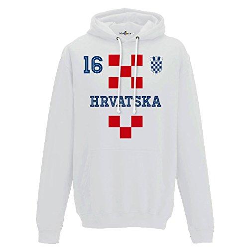 Felpa Cappuccio Uomo Nazionale Sportiva Hrvatska 16 Calcio Europa Scudo 1 KiarenzaFD Streetwear Arctic White