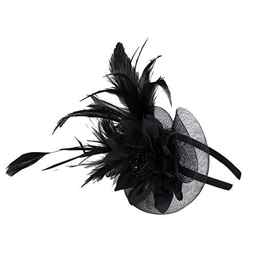 XuxMim Damenmode Hochzeit Mütze Fascinator Penny Bänder und Federn Party