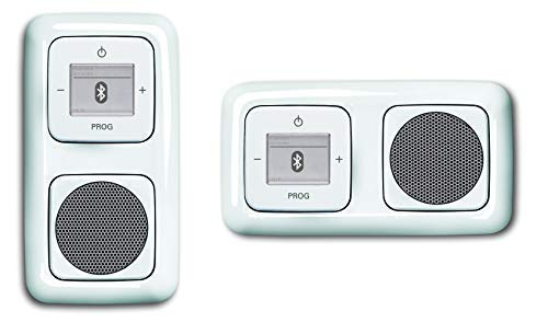 Busch Jäger Unterputz UP Bluetooth Radio (8217U) ReflexSI alpinweiß Komplett-Set Lautsprecher + Radioeinheit 8217 U + Abdeckungen in 2 fach Rahmen integriert