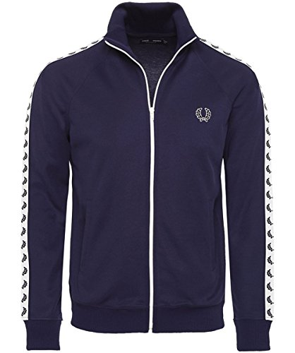 Fred Perry Taped Track Jacket Carbon Blue White, Sportjackett - S