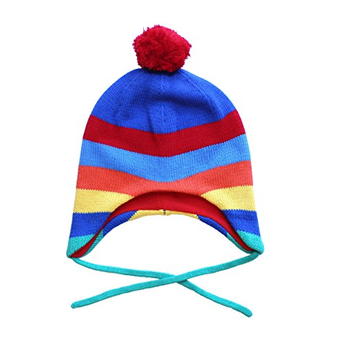Toby Tiger Jungen, Mütze, 100% Cotton outer super cosy fleece lined multi stripe knitted hat is warm and practical., Mehrfarbig (Multicoloured), L - Multi-stripe Hat