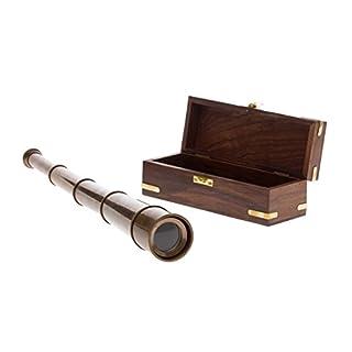 Fernrohr Messing 49cm mit Holzbox Maritim Teleskop Monokular Fernglas antik Stil