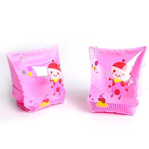 Tianu aufblasbar schwimmt Arm Bands für Kinder, Schwimmscheiben Schwimmflügel für Pool (2Stück/1Paar, 5Farben), Pink cartoon bee -