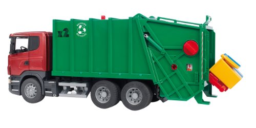 Bruder Spielwaren 03561 - Scania R-Serie Müll-LKW, rot/grün (Spielzeug-müll-lkw Grün)