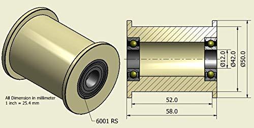 4Stück x Nylon Gürtel Faulenzer 50mm Durchmesser 52mm Groove 12mm Bearing Präzise gefräßt in der EU (50–52–12)