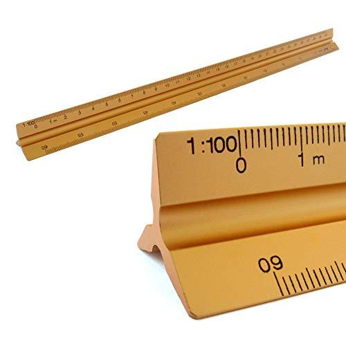 Reglas Escala triangular de aluminio 1, 100, 1, 200, 1, 250, 1, 300, 1, 400, 1, 500, 30 cm de largo