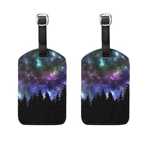 2 PCS Kofferanhänger Night Sky Stars Tree Suitcase Labels Travel Accessories -