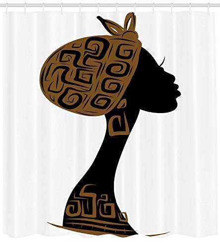 gwegvhvg Afrikanische Frau Duschvorhang Gesicht Profil Silhouette Frau mit Kopftuch Tribal Art Folk Elements Stoff Badezimmer Dekor Set mit Braun Schwarz