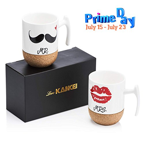 Love-KANKEI MR & MRS Kaffeetassen Kaffeebecher Set mit Korkboden, Porzellan, 300ml, Ideales Geschenk...