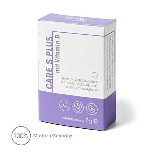 Plus Jod (Care S PLUS APOTHEKENPRODUKT - Folsäure 800 µg Jod Selen Vitamin D-3 für Kinderwunsch & Schwangerschaft - VEGETARISCH)