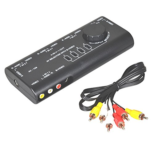 R11 4*Weg Audio Video AV RCA Switch Selector Box Splitter Umschalter +3RCA Kabel, Plug und Play, Anschlüsse: 1x AV-Ausgang, 4x AV-Eingang, Kompatibel mit allen gängigen AV-Geräte wie Fernseher, XBOX, DVD, PS2, Abmessungen: 175mm x 80mm x 30mm, Farbe Schwarz Audio Selector