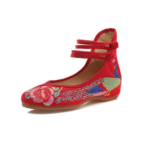 Yy.f YYF Fille Femme Chaussure de Princesse A Talon Fleurs Broderies Chinoise A Talon Elegante pour Ete Printemps