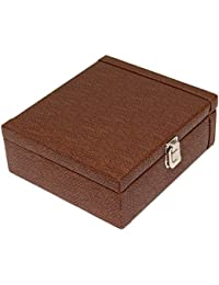 Borse Brown Leatherette 8 Slots Watch Box without Watches for Men & Women
