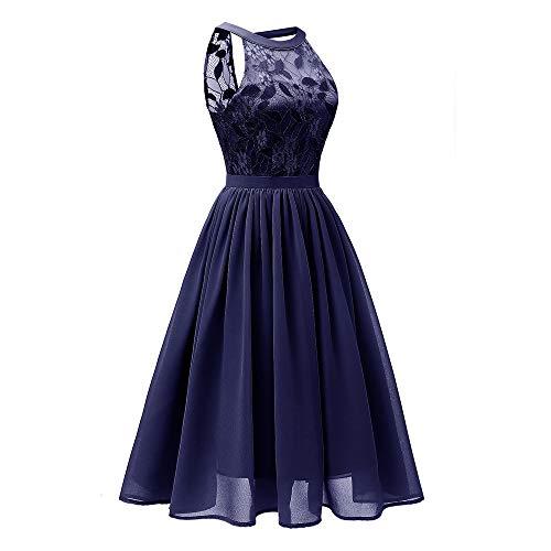 MOIKA Elegant Kleid aus Spitzen Damen Ärmellos Cocktailkleider Party Ballkleid Abendkleid Lange...