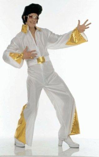 Rock and Roll Kostüm The King, weiß/gold, Größe (Monkey Kostüm King Halloween)