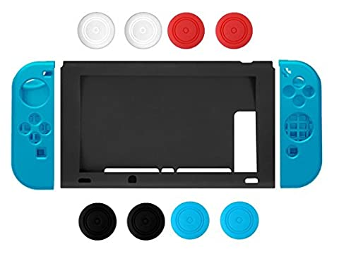 Nintendo Switch Case, Chickwin Silikon Soft Durable Flexible Anti-Rutsch Silikon Schutzhülle Tasche für Nintendo Switch (Blau)